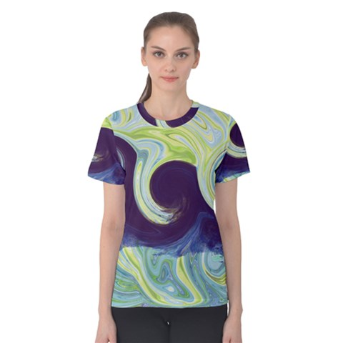 Abstract Ocean Waves Women s Cotton Tees by digitaldivadesigns