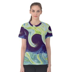 Abstract Ocean Waves Women s Cotton Tees