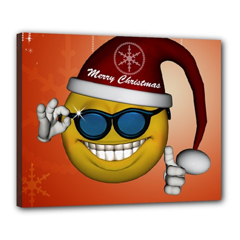 Funny Christmas Smiley With Sunglasses Canvas 20  X 16  by FantasyWorld7