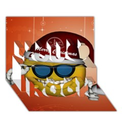 Funny Christmas Smiley With Sunglasses You Rock 3d Greeting Card (7x5)  by FantasyWorld7