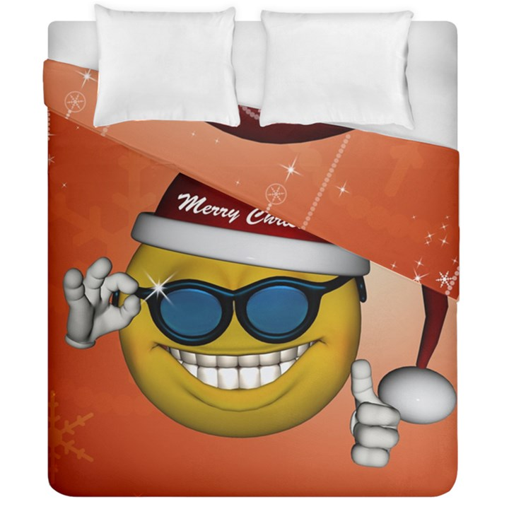 Funny Christmas Smiley With Sunglasses Duvet Cover (Double Size)