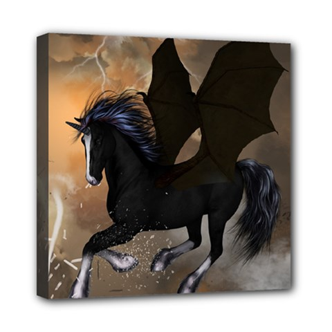 Awesome Dark Unicorn With Clouds Mini Canvas 8  X 8  by FantasyWorld7