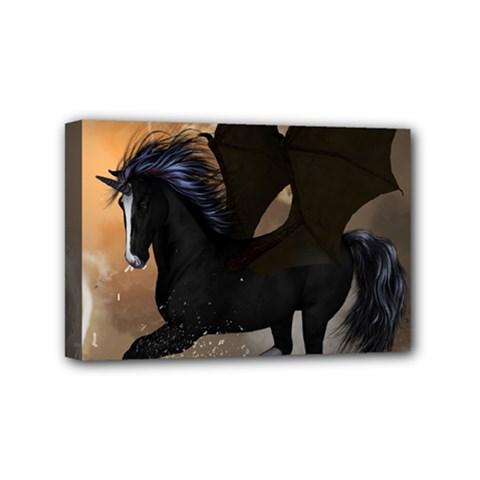 Awesome Dark Unicorn With Clouds Mini Canvas 6  X 4  by FantasyWorld7