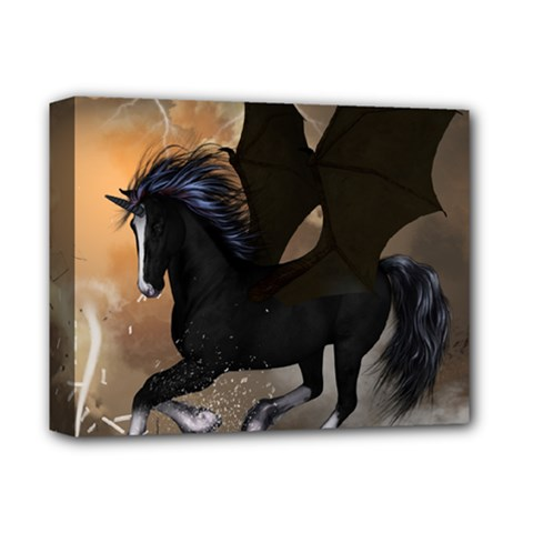 Awesome Dark Unicorn With Clouds Deluxe Canvas 14  X 11  by FantasyWorld7