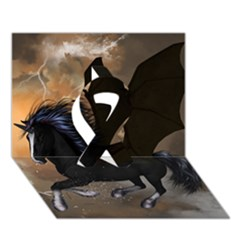 Awesome Dark Unicorn With Clouds Ribbon 3d Greeting Card (7x5)  by FantasyWorld7