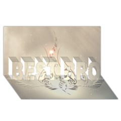 Music, Piano With Clef On Soft Background Best Bro 3d Greeting Card (8x4)