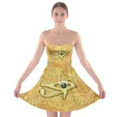 The All Seeing Eye With Eye Made Of Diamond Strapless Bra Top Dress