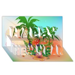 Tropical Design With Palm And Flowers Happy New Year 3d Greeting Card (8x4)  by FantasyWorld7
