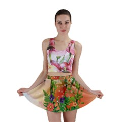 Tropical Design With Palm And Flowers Mini Skirts