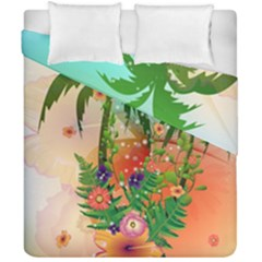 Tropical Design With Palm And Flowers Duvet Cover (double Size) by FantasyWorld7