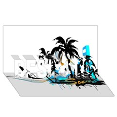 Surfing Best Sis 3d Greeting Card (8x4)  by EnjoymentArt