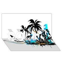 Surfing Sorry 3d Greeting Card (8x4)  by EnjoymentArt