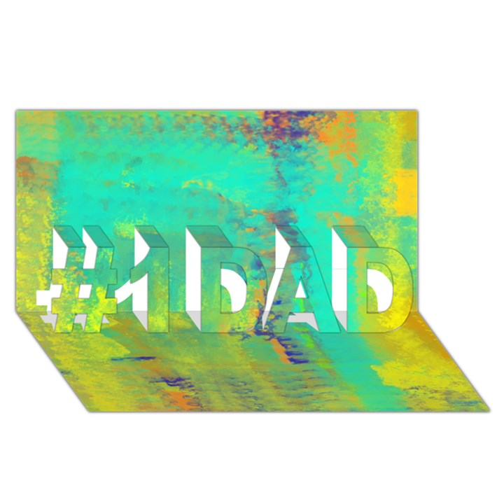 Abstract in Turquoise, Gold, and Copper #1 DAD 3D Greeting Card (8x4)