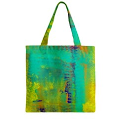 Abstract In Turquoise, Gold, And Copper Zipper Grocery Tote Bags