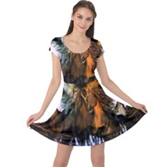 Wonderful Horses In The Universe Cap Sleeve Dresses by FantasyWorld7