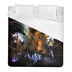 Wonderful Horses In The Universe Duvet Cover Single Side (twin Size) by FantasyWorld7