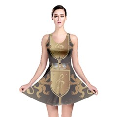 Music, Clef On A Shield With Liions And Water Splash Reversible Skater Dresses by FantasyWorld7