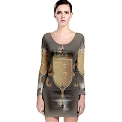 Music, Clef On A Shield With Liions And Water Splash Long Sleeve Bodycon Dresses by FantasyWorld7