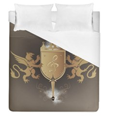 Music, Clef On A Shield With Liions And Water Splash Duvet Cover Single Side (full/queen Size) by FantasyWorld7