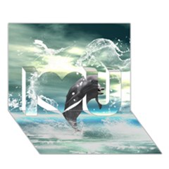 Funny Dolphin Jumping By A Heart Made Of Water I Love You 3d Greeting Card (7x5)