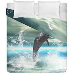 Funny Dolphin Jumping By A Heart Made Of Water Duvet Cover (double Size) by FantasyWorld7