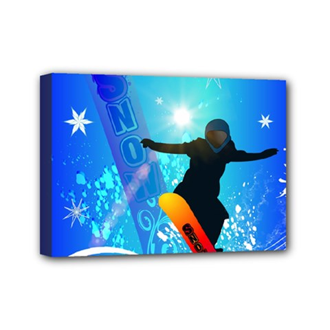Snowboarding Mini Canvas 7  X 5  by FantasyWorld7