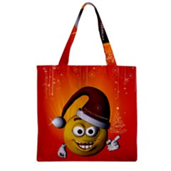 Cute Funny Christmas Smiley With Christmas Tree Zipper Grocery Tote Bags by FantasyWorld7