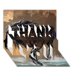 Beautiful Horse With Water Splash Thank You 3d Greeting Card (7x5)  by FantasyWorld7