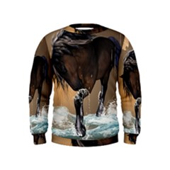 Beautiful Horse With Water Splash Boys  Sweatshirts by FantasyWorld7