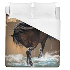 Beautiful Horse With Water Splash Duvet Cover Single Side (full/queen Size) by FantasyWorld7