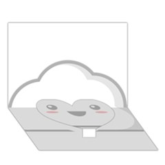 Kawaii Cloud Heart Bottom 3d Greeting Card (7x5)  by KawaiiKawaii