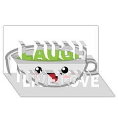 Kawaii Cup Laugh Live Love 3d Greeting Card (8x4)  by KawaiiKawaii