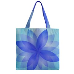 Abstract Lotus Flower 1 Zipper Grocery Tote Bags by MedusArt