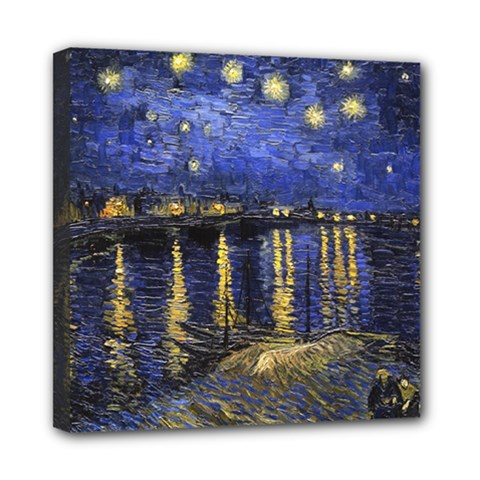 Vincent Van Gogh Starry Night Over The Rhone Mini Canvas 8  X 8  by MasterpiecesOfArt