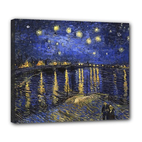 Vincent Van Gogh Starry Night Over The Rhone Deluxe Canvas 24  X 20   by MasterpiecesOfArt