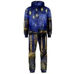 Vincent Van Gogh Starry Night Over The Rhone Hooded Jumpsuit (men)  by MasterpiecesOfArt