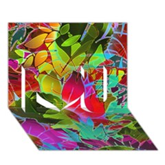 Floral Abstract 1 I Love You 3d Greeting Card (7x5)  by MedusArt