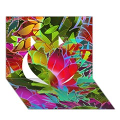 Floral Abstract 1 Heart 3d Greeting Card (7x5)  by MedusArt
