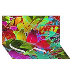 Floral Abstract 1 Twin Heart Bottom 3d Greeting Card (8x4)  by MedusArt