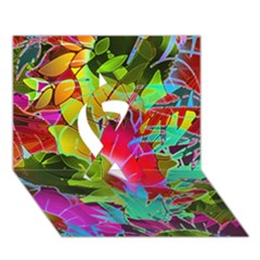 Floral Abstract 1 Ribbon 3d Greeting Card (7x5)  by MedusArt
