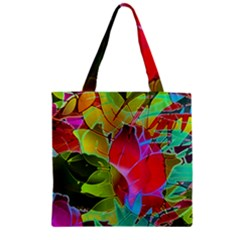 Floral Abstract 1 Zipper Grocery Tote Bags by MedusArt
