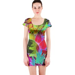 Floral Abstract 1 Short Sleeve Bodycon Dresses by MedusArt