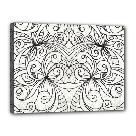 Drawing Floral Doodle 1 Canvas 16  X 12  by MedusArt