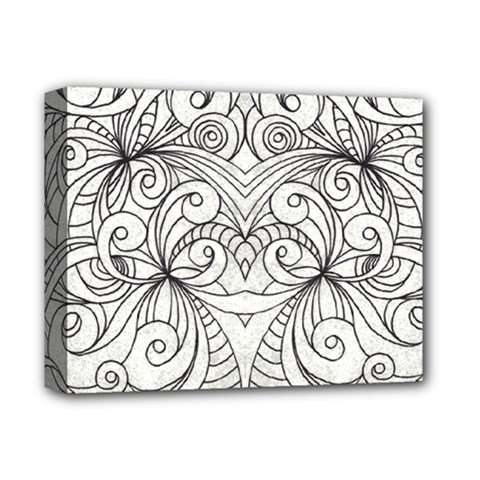 Drawing Floral Doodle 1 Deluxe Canvas 14  X 11  by MedusArt