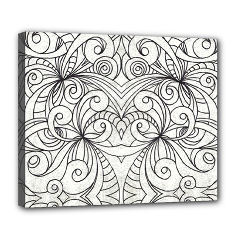 Drawing Floral Doodle 1 Deluxe Canvas 24  X 20   by MedusArt