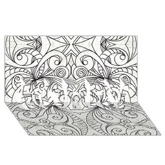 Drawing Floral Doodle 1 Sorry 3d Greeting Card (8x4)  by MedusArt