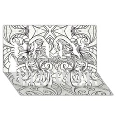 Drawing Floral Doodle 1 Happy New Year 3d Greeting Card (8x4)  by MedusArt