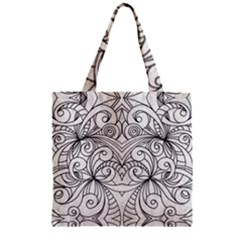 Drawing Floral Doodle 1 Zipper Grocery Tote Bags by MedusArt