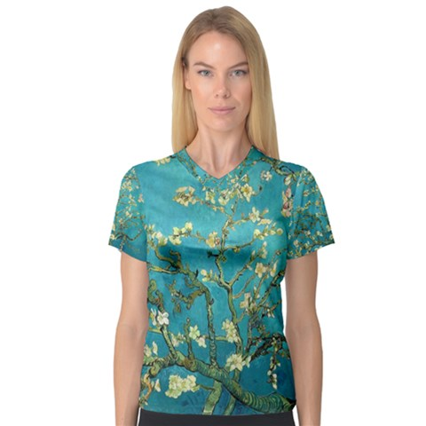 Blossoming Almond Tree Women s V-neck Sport Mesh Tee by fineartgallery