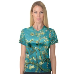 Blossoming Almond Tree Women s V Neck Sport Mesh Tee by MasterpiecesOfArt